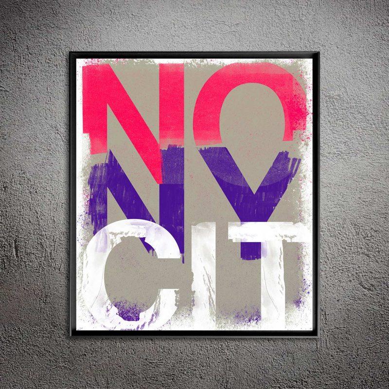 NO New York Pink tirage en subligraphie sur plaque aluminium Chromaluxe   édition limitée