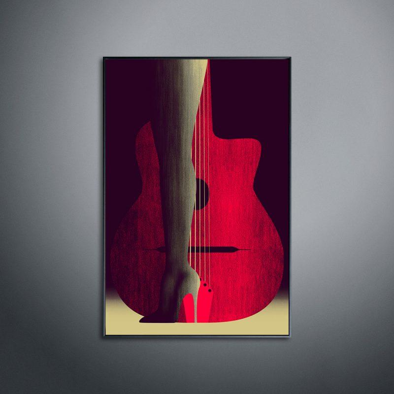 Lady Guitar tirage en subligraphie sur plaque aluminium Chromaluxe | édition limitée | Christophe Andrusin