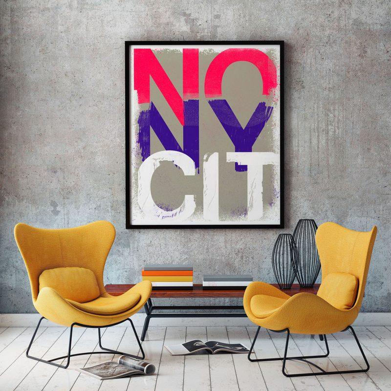 NO New York Pink tirage en subligraphie sur plaque d'aluminium Chromaluxe | édition limitée